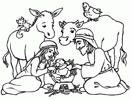 Jesus In The Manger Coloring Page Picture Of A