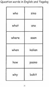 Question Words In English Tagalog