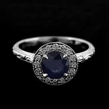 Diamond Round Blue Sapphire Engraved Halo Engagement Ring