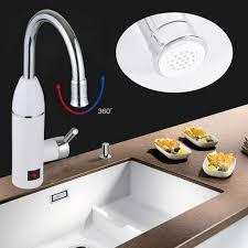 elektrischer durchlauferhitzer warmwasserbereiter wasserhahn mit led temperaturanzeige für küche und bad 220v 3000w silber