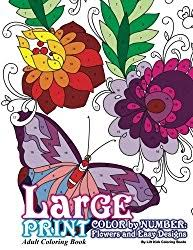 Large Print Adult Coloring Book Color By Number Flowers Easy Designs Beautiful