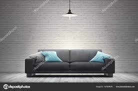salon avec canapé gris salon avec canapé et blanc mur brique moderne photographie