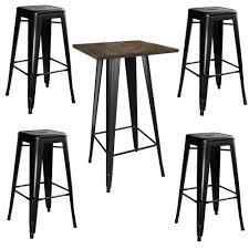AmeriHome Loft Style 24 In. X 24 In. Bar Table Set In Black ...