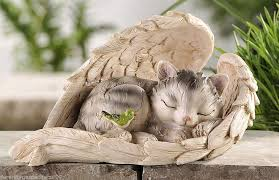 cat garden statue cat sleeping wrapped in wings garden statue polystone new