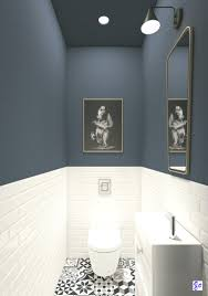 deckengemälde ideen blaue wandfarbe kleine badezimmer