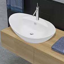 festnight luxuriöses keramik waschbecken waschschale waschtisch badezimmer waschplatz aufsatzwaschbecken oval und überlauf 59 x 40cm