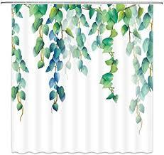 n x grünes blatt duschvorhang set aquarell blume pflanze