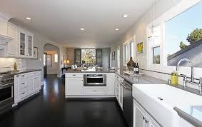 White Kitchen Cabinets With Dark Floors And Hardwood