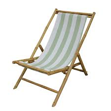 Zew Outdoor Foldable Bamboo Patio Sling Chair With Treated Canvas, 37