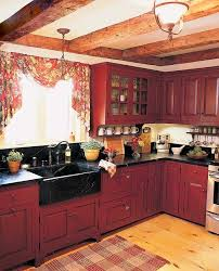 Small Kitchen Decorating Ideas With Rustic Red Painted Cabinets A Country In The Early American Style