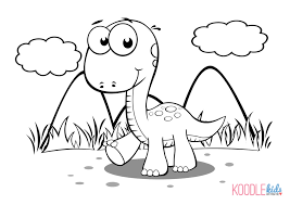 Beautiful Cartoon Dinosaur Coloring Pages 59 On Free Colouring With