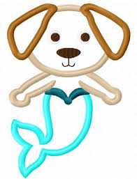Mermaid dog appliqué embroidery design Merdog appliqué design