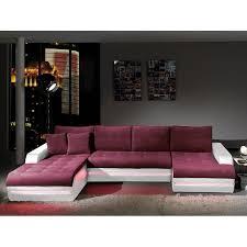 canapé d angle prune canapé d angle en tissu prune et pvc blanc avec éclairage led