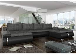 canapé noir et blanc convertible canapé d angle panoramique convertible azelma en tissu et simili