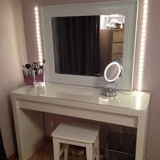 Makeup Vanity Table With Lighted Mirror Ikea by Vanity Desk Mirror With Lights Glass Top Fantastic Dressing Table