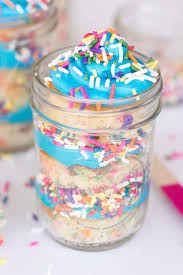Sprinkles Birthday Cake in Mason Jars