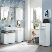 badezimmer spiegel mit ablage und led beleuchtung lublin 01 in navarra eiche nb bxhxt ca 76x75x15cm