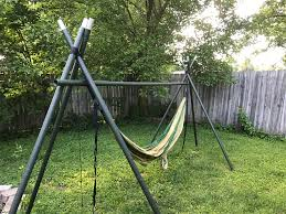 DIY Tripod Hammock Stand : Hammocks Fniture Indoor Hammock Chair Stand Wooden Diy Tripod Hammocks 40 That You Can Make This Weekend 20 Hangout Ideas For Your Backyard Garden Lovers Club I Dont Have Trees A Hammock And Didnt Want Metal Frame So How To Build Pergola In Under 200 A Durable From Posts 25 Unique Stand Ideas On Pinterest Diy Patio Admirable Homemade To At Relax Your Yard Even Without With Zig Zag Reviews Home Outdoor Decoration