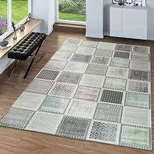 moderner wohnzimmer teppich patchwork muster mehrfarbig