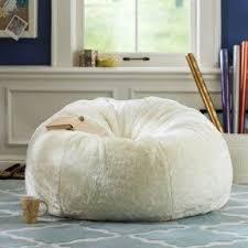 White Fluffy Bean Bag