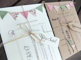 Rustic Wedding Invitation Unique Bunting Country Cottage On Kraft Card With Jute Twine