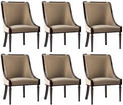 casa padrino luxus barock esszimmer stuhl set beige dunkelbraun hochglanz 50 x 50 x h 92 cm edles küchen stühle 6er set barock esszimmer möbel