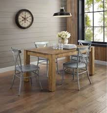 Image Is Loading Rustic Wood Farmhouse Dining Table Industrial Silver Metal