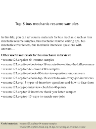 Top 8 Bus Mechanic Resume Samples In This File You Can Ref Materials For