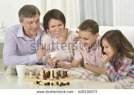 Family Playing Board Game Stock Images Royalty Free