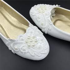 Ivory White Vintage Lace Wedding ShoesPearls Bridal Ballet ShoesComfortable FlatsUSA Size 4 5 6 7 8 9 10 11 12 4125