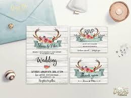 Rustic Wedding Invitation Printable Antlers Suite Floral Deer Invite Boho Woodland Digital File