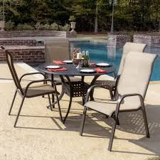Aluminum Sling Stackable Patio Chairs by Madison Bay Person Sling Patio Dining Set With Stacking Chairs