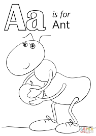 A Is For Apple Coloring Page Letter Ant Free Printable Pages Gallery Ideas