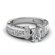 25 Karat Cushion Cut Diamond Vintage Style Expensive Engagement Ring In 18K White Gold FDENR1810CUR NL
