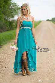 Real Image Hot Country Western High Low Turquoise Bridesmaid Dresses
