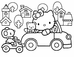 I Have Download Hello Kitty Playing Cars With Friends Coloring Page