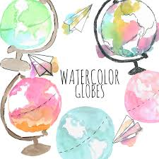 Watercolor Clipart Globe Object Travel