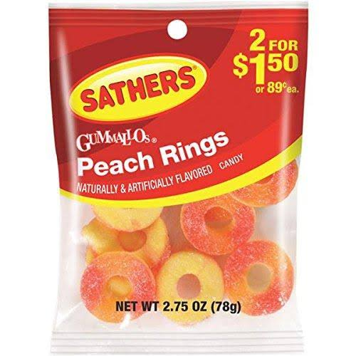 Farley's & Sathers Candy, Peach Rings, 2.75 Ounce (Pack of 12)