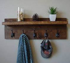 Rustic Modern Light Walnut 5 Hanger Hook Coat Rack With Shelf From KeoDecor On Etsy Saved To Epic Wishlist
