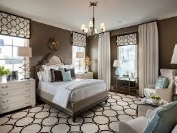 Brown Transitional Bedroom With White And Blue Accents