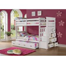 Allentown White Storage Ladder Twin Twin Trundle Bunk Bed
