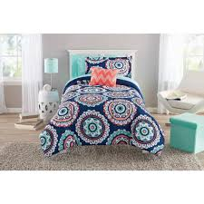 Blue Medallion Curtains Walmart by Mainstays Navy Medallion Bed In A Bag Walmart Com