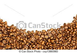 Coffee Brown Beans Isolated On White Background Frame Of Border