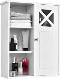 costway hängeschrank mit verstellbarem einlegeboden badezimmerschrank hängend wandschrank aus holz badezimmer schrank 1 türig badhängeschrank 48 x