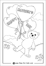 Colouring Page Of A Bear With Balloons