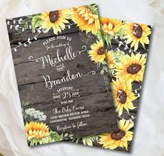 Rustic Sunflower Wedding Invitation Country Wood Fall