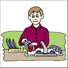 Clip Art Kids Chores Washing the Dishes Color I abcteach