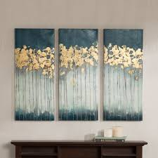 Teal Color Living Room Decor by Midnight Forest Is A Triptych Set Will Add Style And