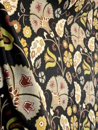 Jacobean Floral Curtain Fabric by Favell Smoke Richloom Fabric Black Background Floral Curtain