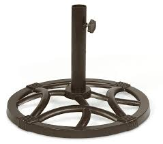 essential garden cora round cast iron umbrella base antique copper
